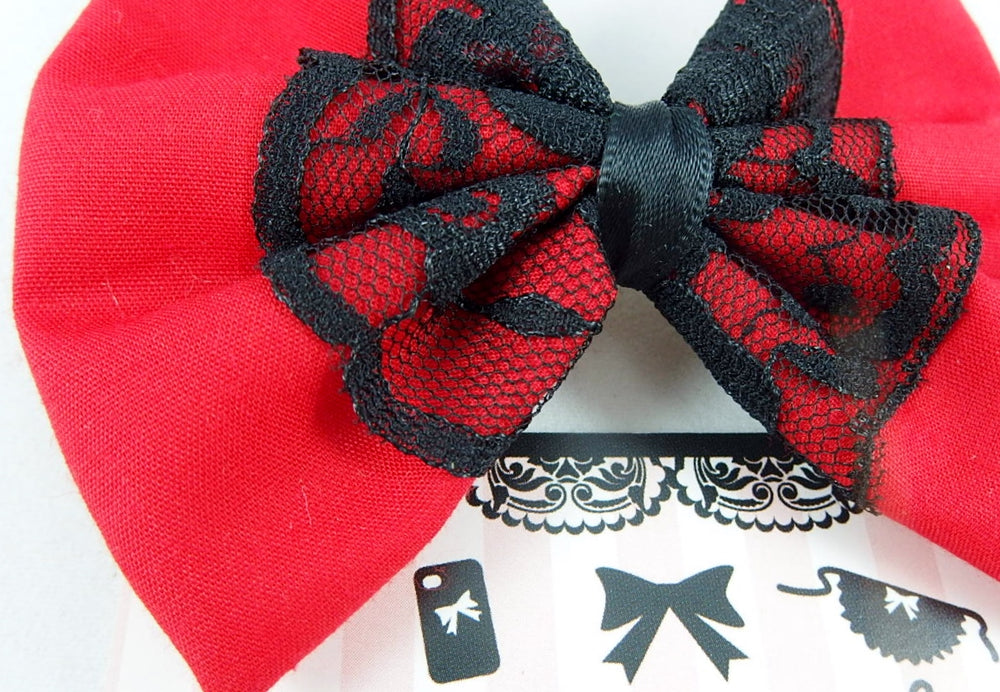 Red Fabric Hair Bow with Black Lace Centre Overlay Hair Clip