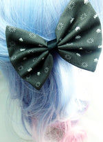 Black and White Retro Space Invaders Gamer Fabric Medium Hair Bow