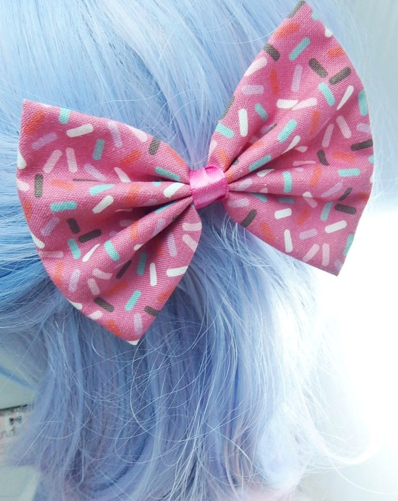 Hot Pink Bright Fabric Hair Bow with Rainbow Sprinkles 100s and 1000s  Cupcake