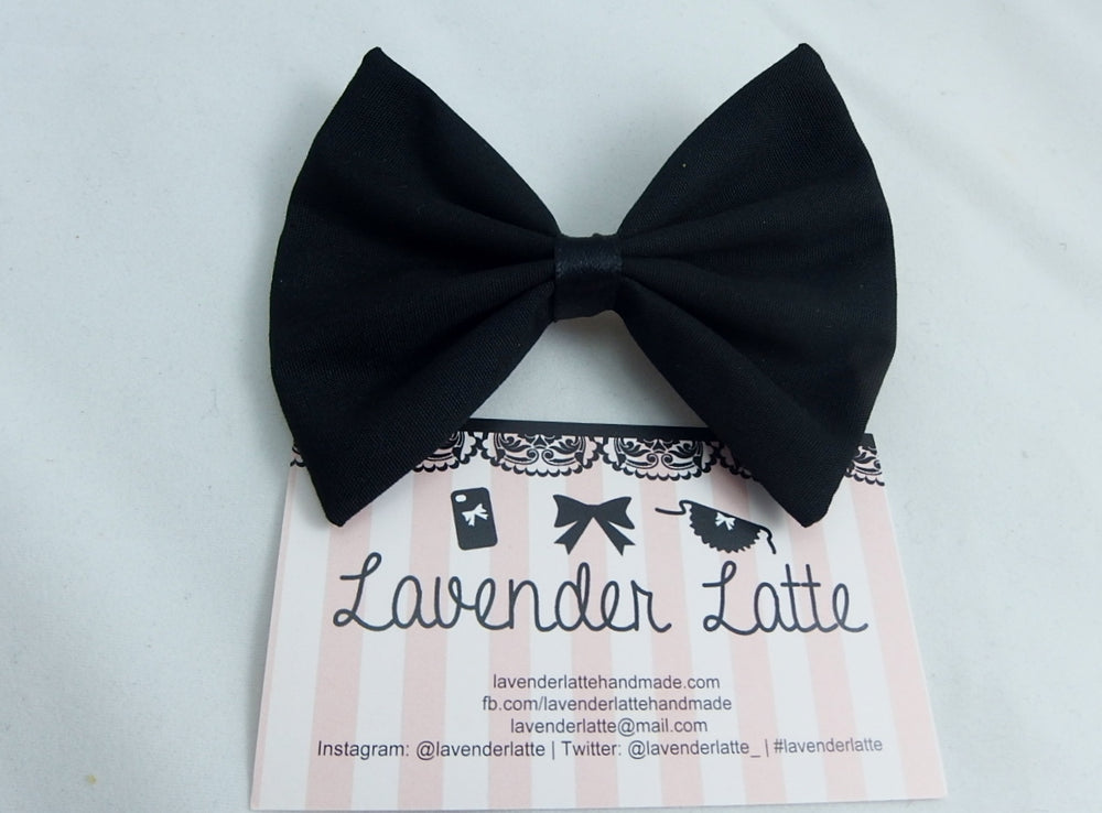 Plain Black Fabric Hair Bow Classic and Simple Hair Clip