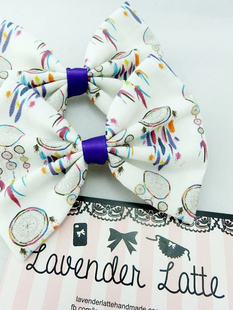 Dream Catcher Fabric Hair Bow with Purple Ribbon Boho Hair Accessory