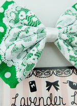 Green and White Polkadot Fabric Medium Hair Bow with White Lace Overlay