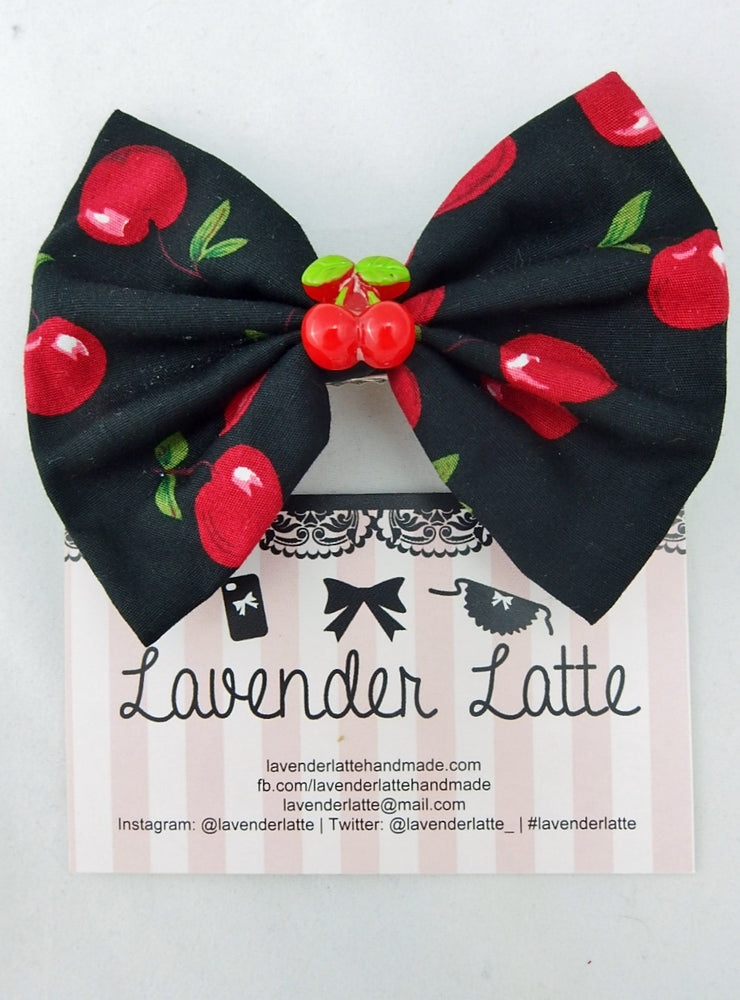 Black with Red Cherry Print Fabric Medium Hair Bow with Cherry Decoration Centre