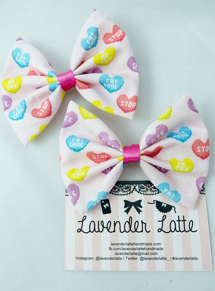 Anti-Valentines Pastel Pink Fabric Bow with Coloured Candy Hearts