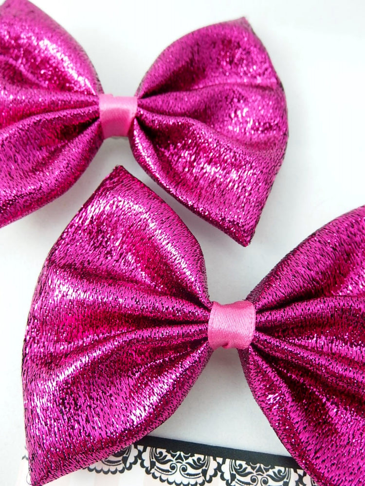 Metallic Hot Pink Hair Bow Bright Handmade Hair Clip