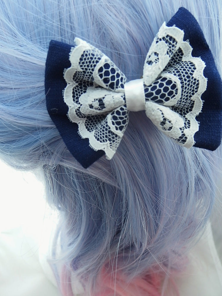 Navy Small Fabric Hair Bow with Pure White Lace Centre Overlay Hair Clip