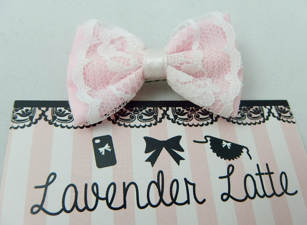 Pale Pink Small Fabric Hair Bow with White Lace Overlay