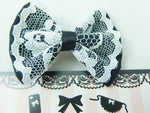 Black Small Fabric Hair Bow with Pure White Lace Centre Overlay Hair Clip