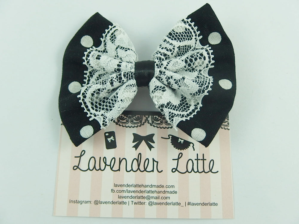 Black and White Dot Hair Bow with White Lace Overlay and Black Ribbon Centre