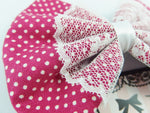 Berry Dot Fabric Medium Hair Bow with White Lace Overlay