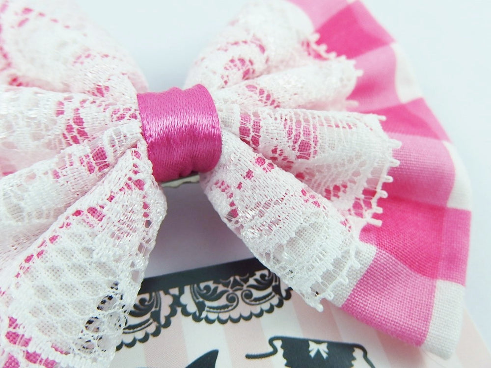 Hot Pink and White Check Gingham Hair Bow with White Lace Overlay