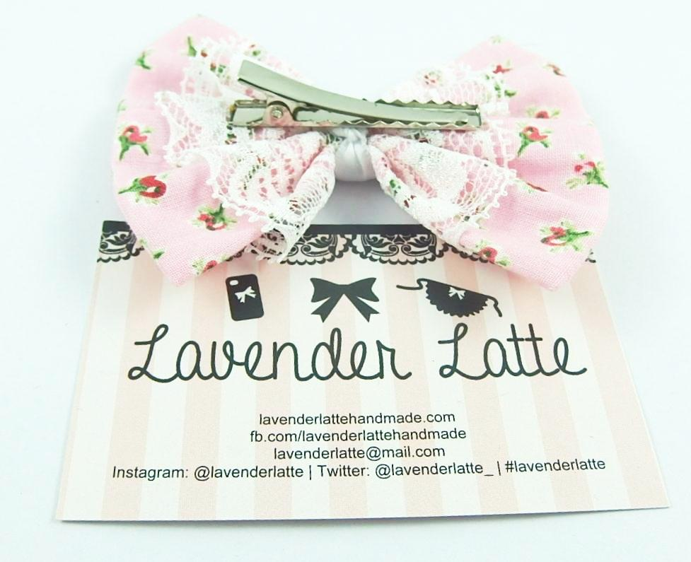 Vintage Inspired Pink Rose Floral Printed Hair Bow with White Lace Overlay