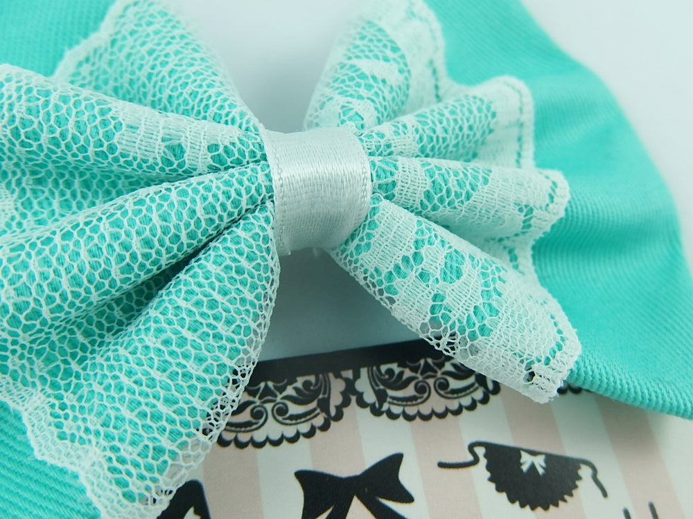 Aqua Fabric Medium Hair Bow with White Lace Overlay
