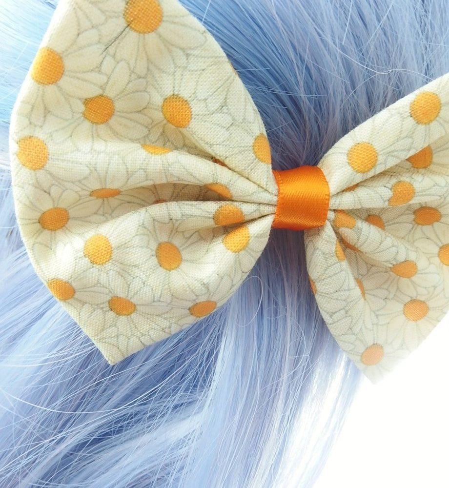 Summer Daisy Hair Bow with Orange Centre Fabric Hair Bow
