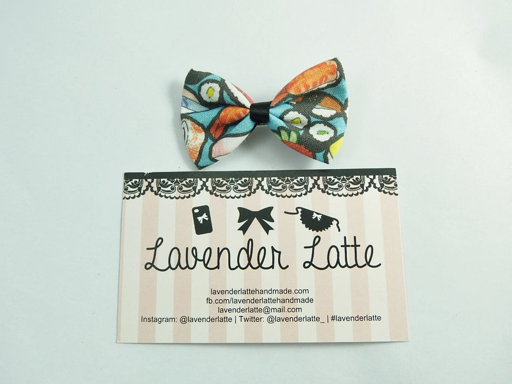 Kawaii Teal Sushi Printed Small Fabric Hair Bow