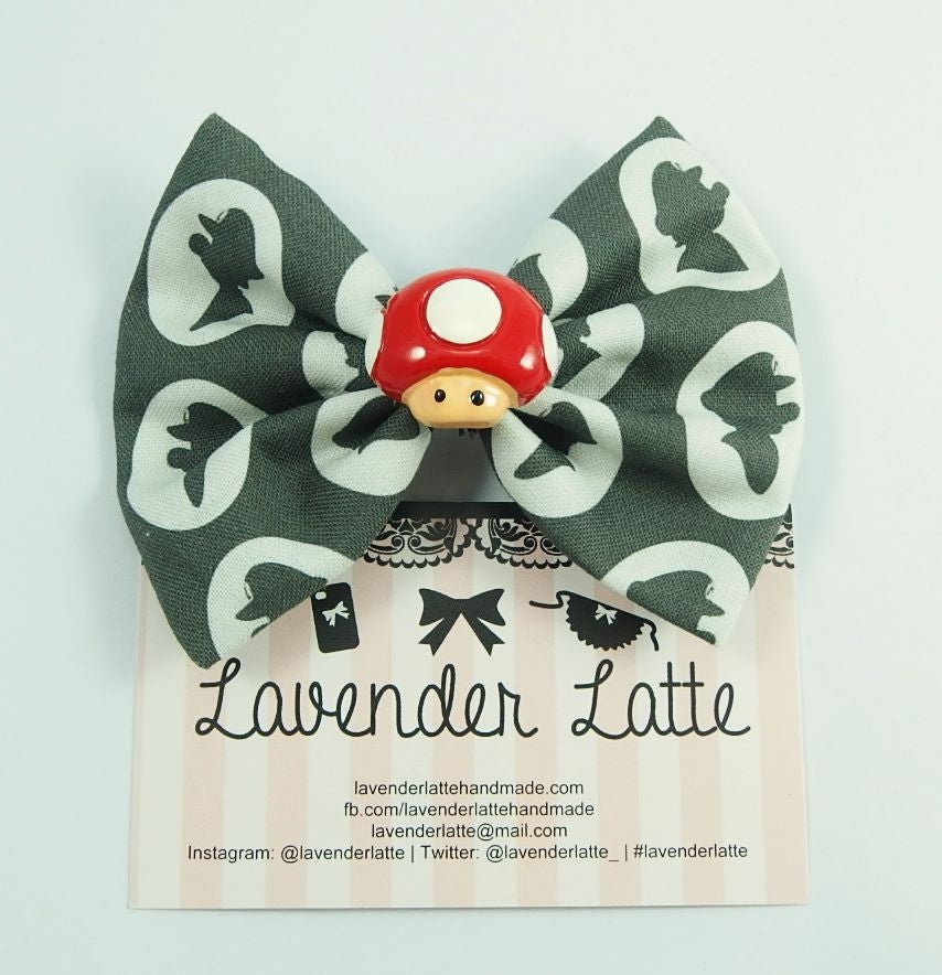 CLEARANCE! Super Gamer Bros Cameo Fabric Hair Bow with Cute Mushroom Centre