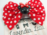 Minnie Inspired Red and White Dot Fabric Hair Bow with Deco Centre