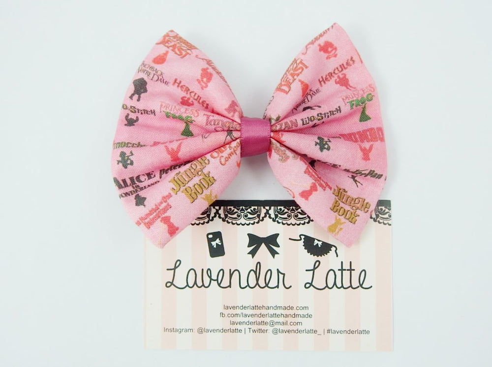 Fairytale Animated Titles Pink Fabric Hair Bow Disney Princess