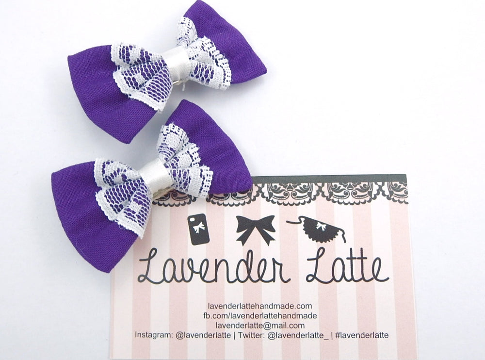Purple Small Fabric Hair Bow with Pure White Lace Centre Overlay