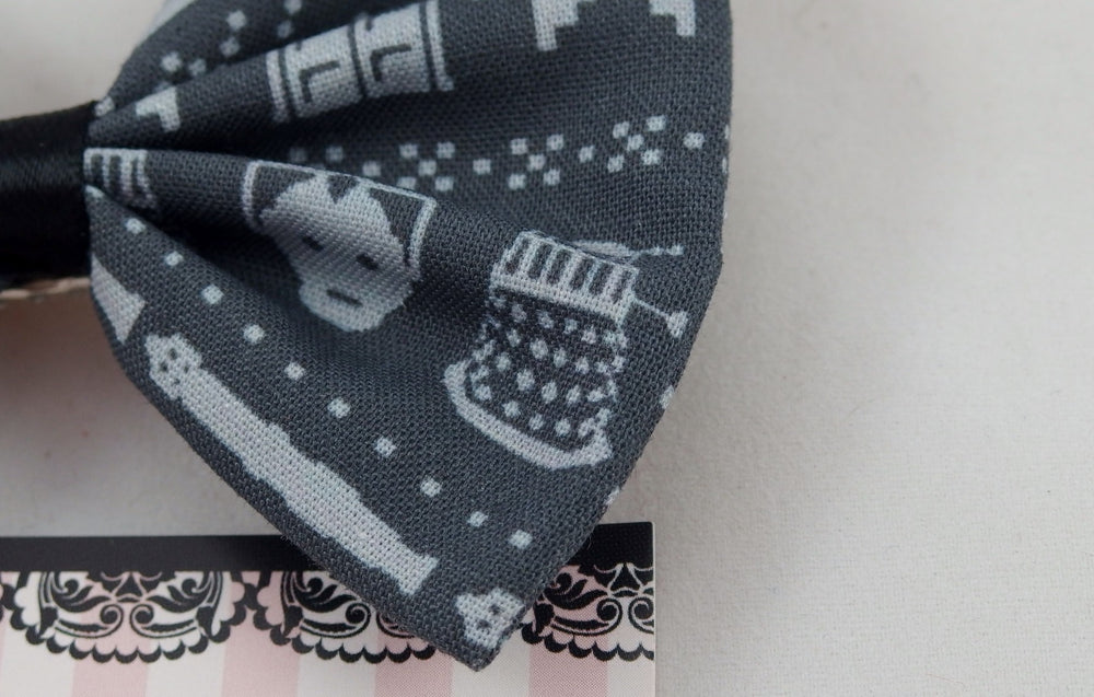 Doctor Who Inspired Grey Knit Look Fabric Hair Bow--Tardis, Dalek, Weeping Angel