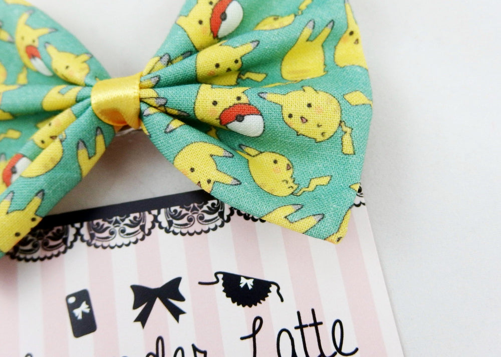 CLEARANCE! Pikachu Teal Green and Yellow Fabric Hair Bow