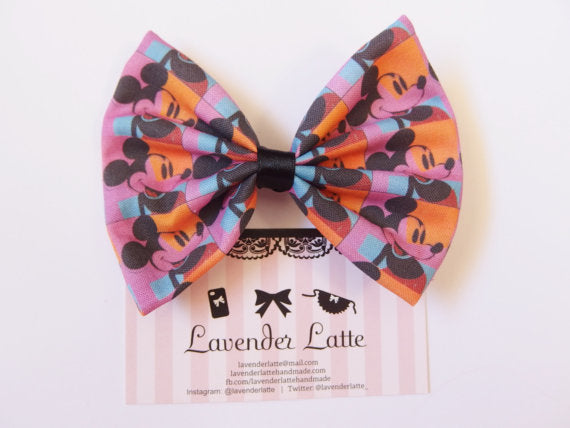 CLEARANCE! Pop Art Mickey Warhol Bright Hair Bow Hair Clip