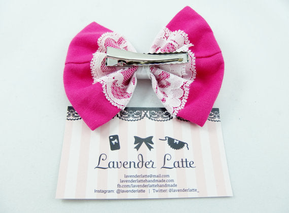 Bright Hot Pink Fabric Hair Bow with Delicate White Lace Overlay