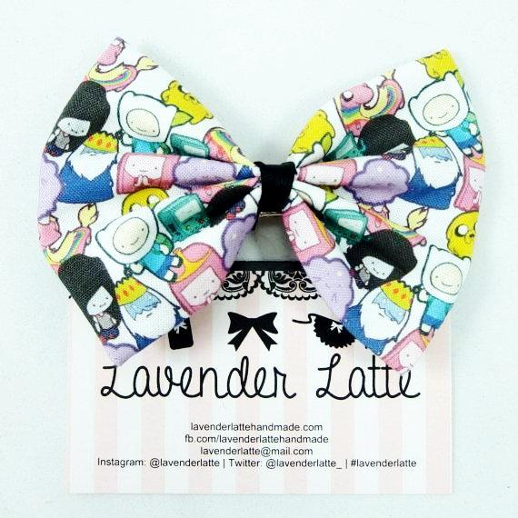SALE! Cute Characters Small Print Cartoon Medium Fabric Hair Bow