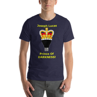 Bella and Canvas Short-Sleeve Unisex T-Shirt: Prince of Darkness yellow text