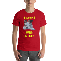 Bella and Canvas Short-Sleeve Unisex T-Shirt: I stand with Nike yellow text