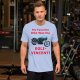Bella and Canvas Short-Sleeve Unisex T-Shirt: Favorite Bike Egli Vincent red text