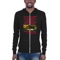 B & C Unisex zip hoodie: The road not taken red text
