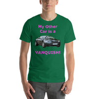 Bella and Canvas Short-Sleeve Unisex T-Shirt: Other car Vanquish magenta text