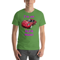 Bella and Canvas Short-Sleeve Unisex T-Shirt: Alfa Male magenta text