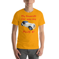 Bella and Canvas Short-Sleeve Unisex T-Shirt: Favorite car Plus 8 red text