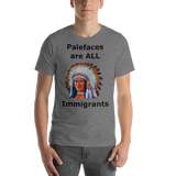 Bella and Canvas Short-Sleeve Unisex T-Shirt: immigrants black text