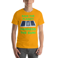 Bella and Canvas Short-Sleeve Unisex T-Shirt: harness the sun green text