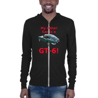 Bella and Canvas Unisex zip hoodie: GT-6 red text