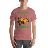 Bella and Canvas Short-Sleeve Unisex T-Shirt: Lotus 7 green text