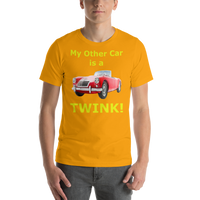 Bella and Canvas Short-Sleeve Unisex T-Shirt: MGA Twin Cam yellow text