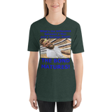 Bella and Canvas Short-Sleeve Unisex T-Shirt: Difference man and bond blue text