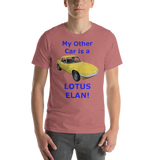 Bella and Canvas Short-Sleeve Unisex T-Shirt: Lotus Elan blue text