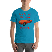 Bella and Canvas Short-Sleeve Unisex T-Shirt: Other car Cobra red text
