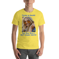 Bella and Canvas Short-Sleeve Unisex T-Shirt: Candy is Dandy WF Blue text