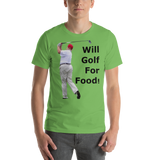 Bella and Canvas Short-Sleeve Unisex T-Shirt: will golf for food black text