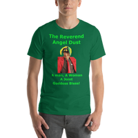 Bella and Canvas Short-Sleeve Unisex T-Shirt: The Reverend Angel Dust Green Text