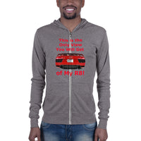 Bella and Canvas Unisex zip hoodie: Only View R8 red text