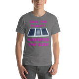 Bella and Canvas Short-Sleeve Unisex T-Shirt: harness the sun magenta text