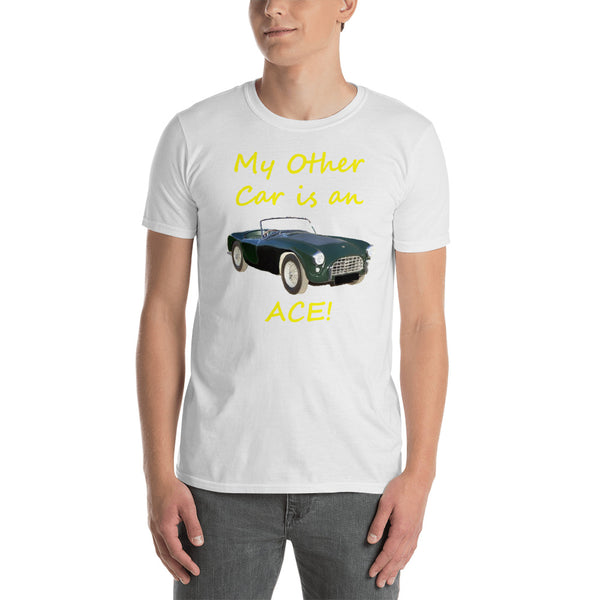 Bella and Canvas Short-Sleeve Unisex T-Shirt: Other car Ace yellow text
