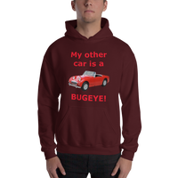 Gildan Hooded Sweatshirt: Bugeye red text
